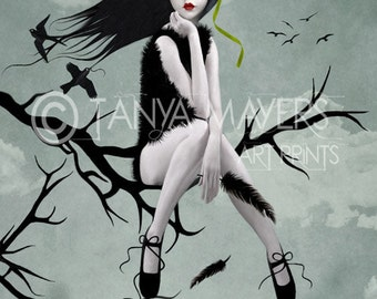 In A World Of My Own - Lowbrow Art Print - Big Eyed Girl & Blackbirds