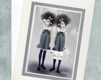 Art Greeting Card & Envelope - Twin Sisters - Tea And Tidings