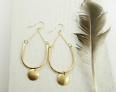 Curve and Dot Earrings. Modern. Brass and Gold Fill. Minimal Earrings. Simple Golden Earrings. Minimalism. Brass Chandeliers. Light Weight.