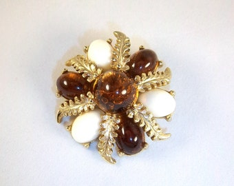 Vintage Signed Emmons Brooch - Milk and Amber Roman Style Brooch