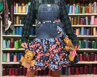 XSmall Vote For USA American Pride Stars & Stripes Recycled Dark Denim Overalls Blue Jean Jumper Dress, Patriotic 4th of July Holiday Bear