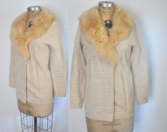 Fur Collar Sweater / cream sheep shearling / S-M