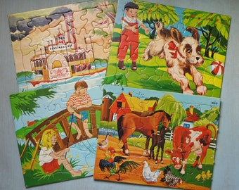 4 Vintage SiFO Frame Tray Puzzles 1965 Farm Animals Children Steamboat