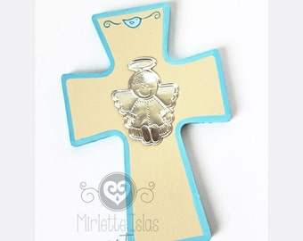 Baptism Favors, Cross Hand painted with metal embossed Little Boy Angel. Party favor Baptism, First Holly Communion, Baby shower