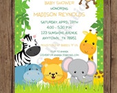 Custom Printed Wild Animals, Jungle, Safari Baby Shower Invitations - 1.00 each with envelope