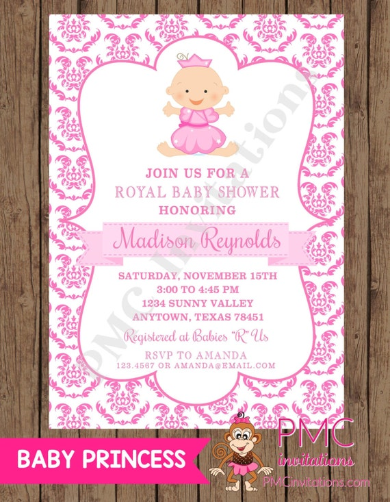 custom printed royal princess baby shower invitations each with