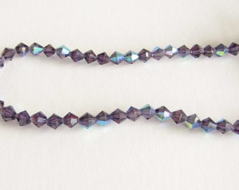 6mm Glass Bead Faceted Bicone Purple AB necklace bracelet jewelry supply