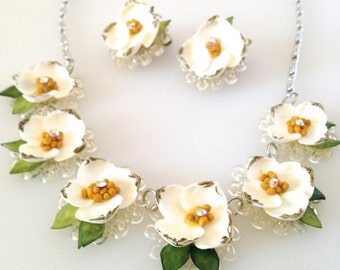 Vintage Dainty Floral Necklace & Earring Set