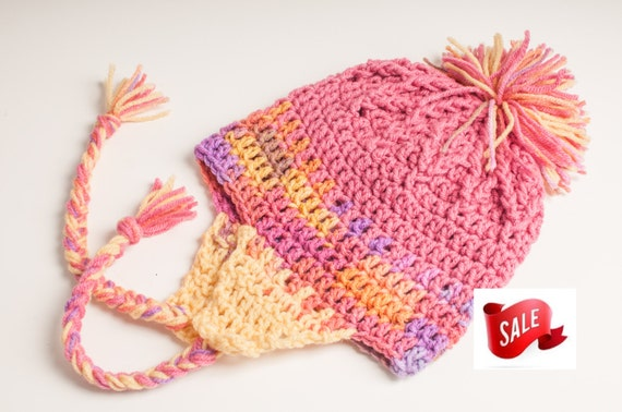 SALE Hat, Earflap, Raspberry, Melonberry, and Cornmeal Yellow, Ready to Ship