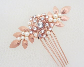 Bridal hair comb, Rose Gold hair comb, Wedding headpiece, Leaf headpiece, Rose Gold headpiece, Swarovski crystal hair comb, Wedding hair