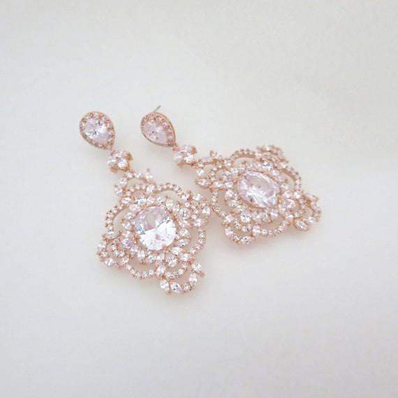 Rose Gold Wedding earrings Rose Gold Chandelier earrings
