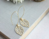 Gold Leaf and Ivory Pearls Earrings. Gold Plated Leaves Long Dangle Marquise Earrings. Modern Everyday Earring. Bridesmaids Gifts. Christmas