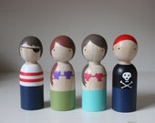 Pirates and Sirens Peg Dolls // Mermaid and Pirates Wooden Dolls Goose Grease Wooden Dolls Fair Trade Made