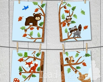 Set of 4 Woodland Friends Forest Animals Boys  Bedroom and Baby Nursery 8 x 10 Wall ART PRINTS