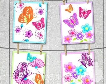 Set of 4 Delicious Butterfly Girls Bedroom Nursery 8x10 Wall ART PRINTS