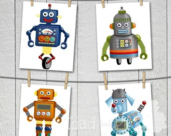 Set of 4 I..am..a..Robot Boys Bedroom Baby Nursery 8 x 10 ART PRINTS