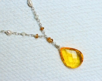 Yellow Quartz Necklace with Citrine, Moonstone, and Freshwater Pearl - Springlight by CircesHouse on Etsy
