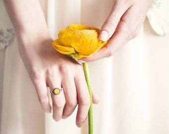 Orange rose ring - Flower petal jewelry - Orange ring - Orange Flower ring - Silver ring - Flower jewelry - Bridesmaids ring (R072)