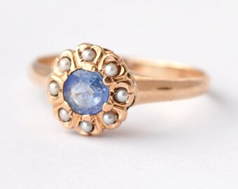 Blue Sapphire Ring: Antique Pearl & 14K Gold, Size 5