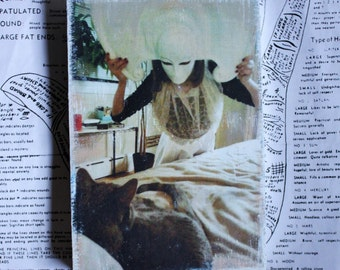 Grey, Cat, Italian, Mask, Photography, 4 x 6, Original Art, Mixed Media, Miniature