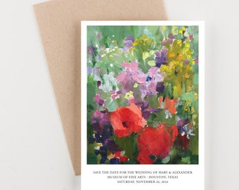 Fine Art Floral Painting Save The Date, Museum Wedding, Bridal Shower, Wedding Invitation