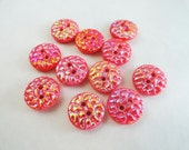 Frosted Coral Glass Vintage Buttons - 6 Antique Orange Sew Through for Jewelry Supplies Beads Sewing Knitting 5/8 inch