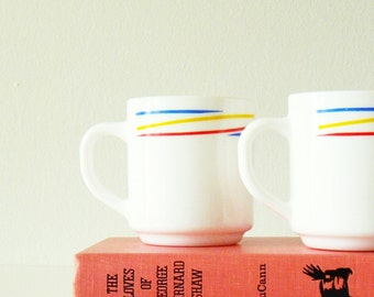 Vintage Rainbow Striped Mugs / Arcopal France Milkglass Mug Set / Vintage Coffee Mugs