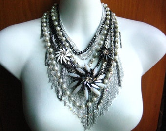 Lucy In The Sky - Multi-strand Rhinestone Chain Statement Necklace, OOAK Layered Statement, Rustic Formal, Rock Star Wedding, Runway Look
