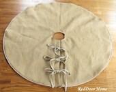 Burlap Christmas Tree Skirt Linen Decoration Stockings