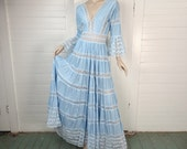 Sky Blue Peasant Dress- 60s Boho Maxi Dress with Lace- 1960s Hippie Mexican Wedding Dress