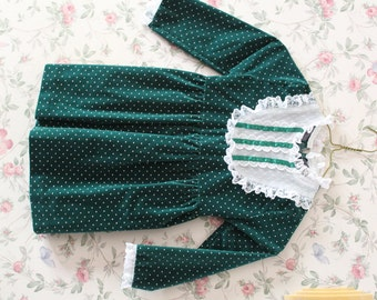 Little Girl's Green Velvet Christmas Dress, Size 4, 1980s