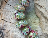 Jungle Adventure Lampwork Boro Beads- Handmade Artisan Beads- Green, Orange, Blue, Amber Frit Borosilicate Glass Lampwork Bead Set (6)