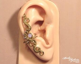 PRINCESS EAR CUFF -  wire wrapped ear cuff, brass earcuff, crystal ear wrap, no piercing ear cuff, adjustable ear cuff, elegant jewelry