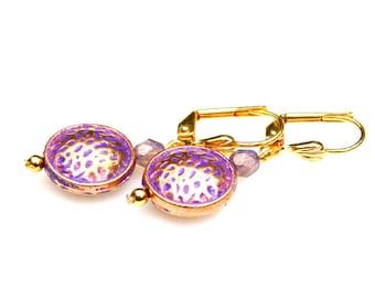 Hammered Rose Gold Earrings Petite Earrings Everyday Dangles Patina Earrings Feminine Flare Purple Earrings Pink Romantic Style by Mei Faith