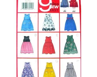 Girls Jumper & Blouse Sewing Pattern Butterick 6285 Sleeveless Empire Dress Size 2 3 4 5 UNCUT