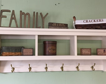 "Wall Shelf Coat Rack 42"" Wide with Storage  3 Cubbies Display Rack"