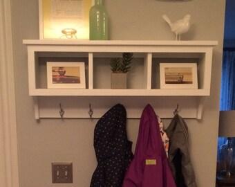Cubby Wall Shelf Country Shelf for Baskets Bath Or Entryway W Hooks