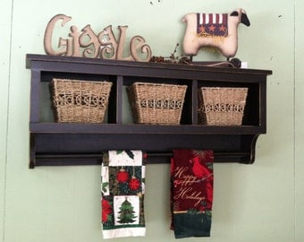 Cubby Wall Shelf Country Shelf for Baskets Bath Or Entryway W Towel Bar or Quilt Rack Primtive Distressed Black