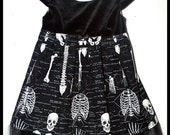 "Girls Rockabilly Gothic Dress in Black Velvet and ""The Human Body"" Skeletons ....size 4-5"