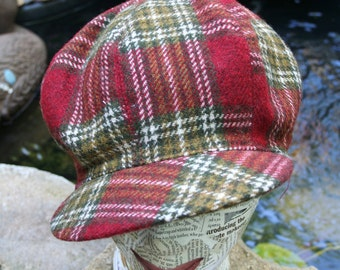 Vintage Plaid Wool Newsboy/Tam Style Cap