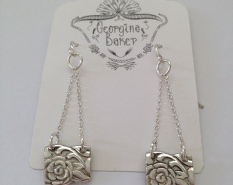 Flower Earrings, Flower Charms, Chain Earrings, Vintage Gift, Bridesmaid Jewelry, Eco Friendly Jewelry, Silver Earrings, Long Earrings