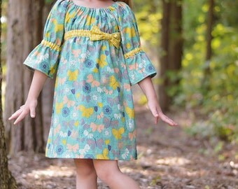 Christmas  SEW CLASSIC Empire Waist Peasant Dress Pattern - Boho Style Girl Dress Pattern - PDF Sewing Pattern Sizes 6m-14c