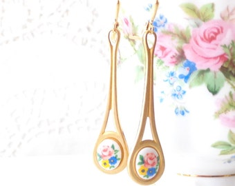 Vintage Limoges Floral Rose Earrings - Long Dangle Earrings - Flower Cameo Earrings - Garden Wedding - Long Brass Earrings