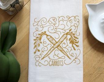 Carrots Flour Sack Towel - Hand Screen Printed