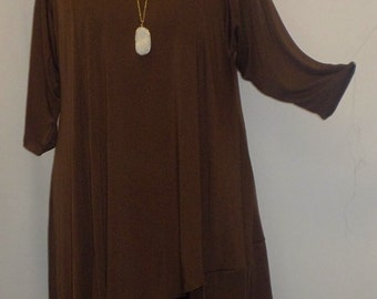 Coco and Juan, Plus Size Tunic, Asymmetric Womens Tunic Top, Brown,  Knit Size 2 (fits 3X,4X) Bust 60 inches