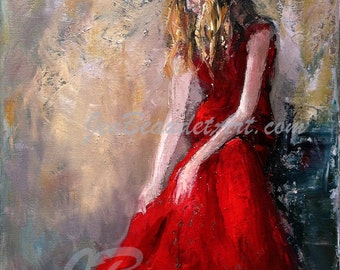 Fine Art Giclee print woman in red sitting impressionist oil painting