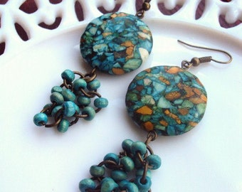 Bohemian Chic Earrings Beaded Mosaic Stone Wood Turquoise Beads Antique Brass Statement Jewelry