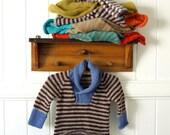 Boys Sweater  - Size 1 - natural wool - seamless raglan cut