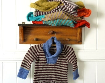 Boys Sweater  - Size 1 - natural wool - seamless raglan cut