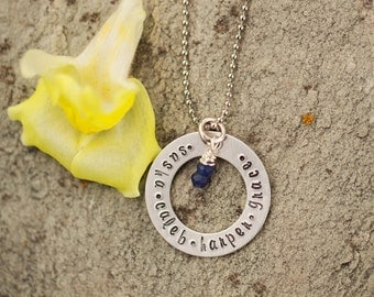 Personalized Silver Washer Necklace, Hand Stamped Jewelry, Custom Jewelry for Mom, Pendant with Names, Mothers Jewelry, Mothers Necklace